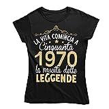 Vulfire Maglietta Donna La Vita Comincia a Cinquanta 1970 Leggende (Nero, M)