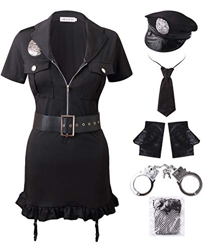 GRACIN Womens Halloween Sexy Police Officer Costume, 7 Pieces Dirty Cop Play Dress with Handcuffs (Large, Black)