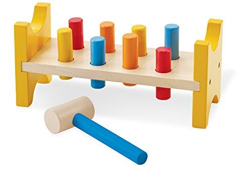 Pinolino Hammerklopfbank Benno, aus massivem Holz, 10-tlg., für Kinder von 1 – 4 Jahren, bunt lackiert