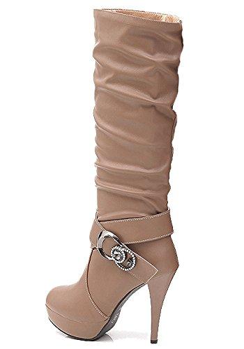Damen Wasserdichte Stiefel Mit Hohen Absätzen Fein Stiefel Elegant Langschaftstiefel Strasssteine Gürtelschnalle Schuhe Braun EU 36