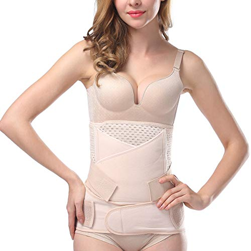 Aigori 3 in 1 Belt für Postpartale Unterstützung Bauch Gürtel Body Shaper Recovery Hohe Elastische Bauchgurt nach Geburt (Beige-2)