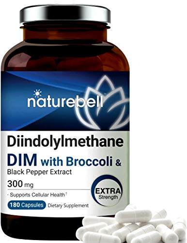 DIM Plus as Diindolylmethane, DIM Capsules, DIM 300mg, 180 Counts, with Broccoli and Black Pepper for Better Absorption, Supports Menopause Relief, No GMOs