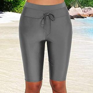 Funien Summer Women Solid Color Swim Bottom High Waist Boardshort Tie Waist Beach Shorts Swimwear