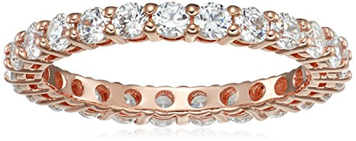 Rose-Gold-Plated Sterling Silver All-Around Band Ring set with Round Swarovski Zirconia (1 cttw), Size 7