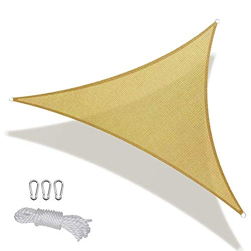 Sun Shade Sail 8' x 8' x 8' Triangle Canopy 185 GSM Permeable Pergolas Top Cover Water & Air Permeable for Outdoor Patio Garden Backyard