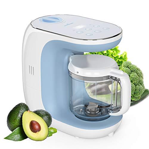 Robots de Cocina Eccomum Cocina al Vapor Procesador de Alimentos para Bebés Multifunción, Cuece al Vapor, Mezcla, Descongela y Calienta, LCD Panel de Control Táctil, Apagado Automático
