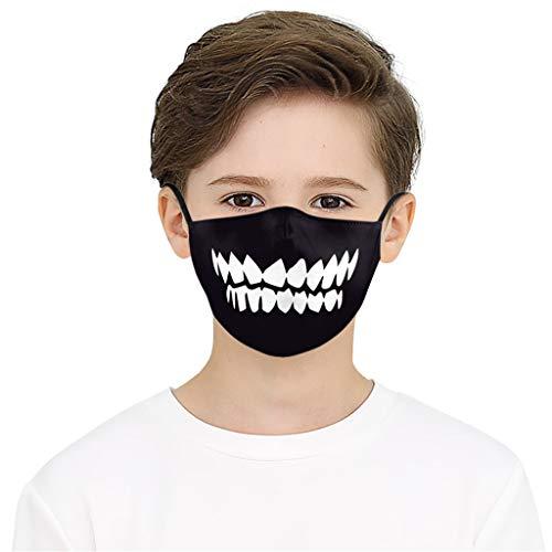 1 Stück Mundschutz mit Motiv Halloween Kinder Jungen Mädchen Skull Totenkopf Rentier Zombie Zahn 3D Lustig Motive Mund Nasenschutz Waschbar mit 2 Filters Multifunktionstuch Bandana Halstuch (100)