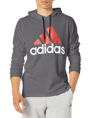 adidas Men's Standard Essentials Hoodie, Dark Grey Heather/Scarlet, XX-Large
