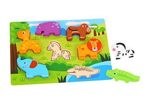 Tooky Toy Puzzle animaux de la jungle en bois multicolore, TKC394, 29.5 x 21 x 1.7 cm