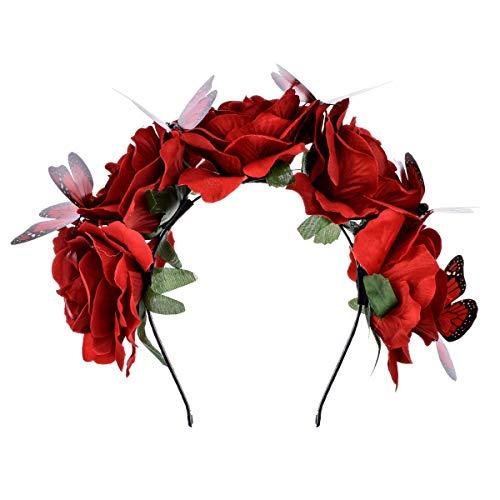 DreamLily Frida Kahlo Mexican Flower Crown Headband Halloween Party Costume Dia de Los Muertos Headpiece NC25 (C-Rose Butterfly)