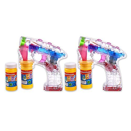 Schramm® 2 Stück Led Seifenblasenpistolen incl. 2x50ml Seifenblasenpistole Seifenblasen Flüssigkeit OHNE BATTERIEN Pistole Bubble Gun