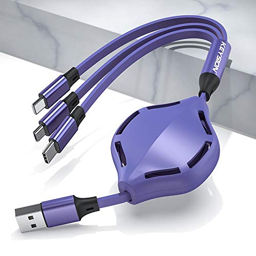 WSUSA 3in1 USB Cable iPhone Type-C Charger Charging Micro USB C Telescopic Extension Mobile Phone Cable (Color : Purple, Size : 0.2m 1.1m)