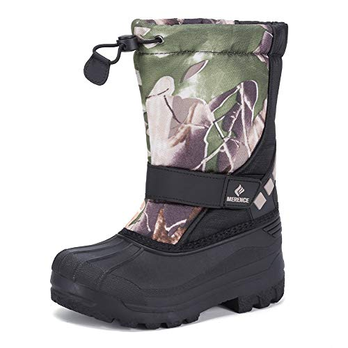 Kids Snow Boots for Boys Girls Toddler Winter Outdoor Boots Waterproof with Fur Lined(Toddler/Little Kids) Leaf Brown-33