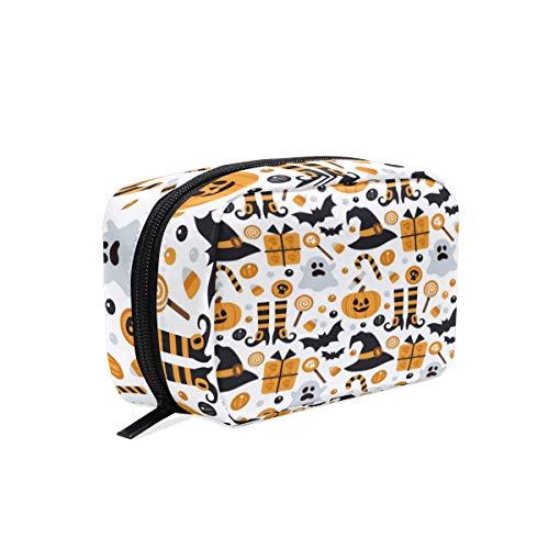 Mnsruu Trousse de maquillage portable pour Halloween, citrouille, chouette, oiseau, bonbons, cosmétiques, sac de rangement pour femme et fille