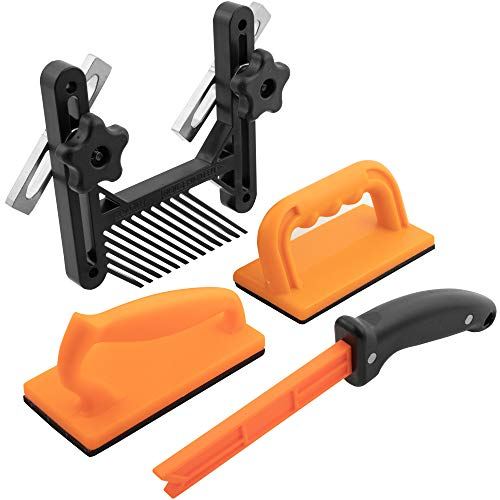 4 Piece Woodworking Safety Kit w/Feather Board | Magnetic Handle Push Stick | Straight Handle Push Block and Angled Handle Push Block | Ideal for Table Saws | Router Tables | Jointers and Band Saws