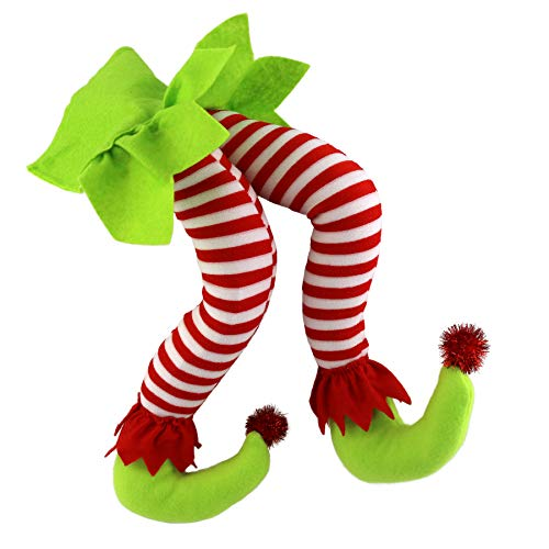 20'' Elf Legs for Christmas Decorations - Wewill Stuffed Legs for Christmas Home Party Tree Fireplace Ornaments (Green)