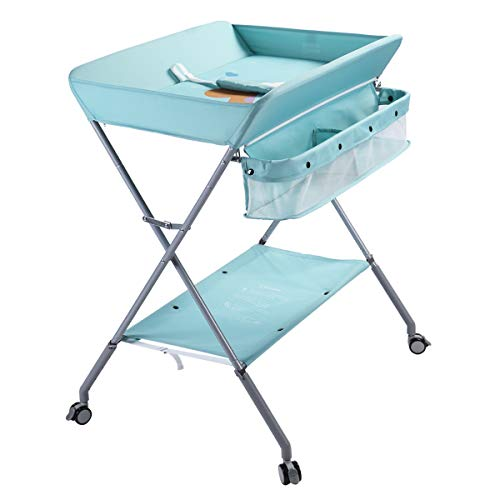 EGREE Baby Changing Table Portable Folding Diaper Changing Station with Wheels, Adjustable Height Mobile Nursery Organizer with Safety Belt and Large Storage Racks for Newborn Baby and Infant, Green