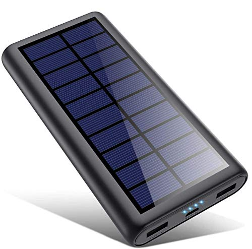 SWEYE Cargador Solar 26800mAh,Cable de Datos Luz Solar, Carga 2 en 1 Batería Externa Solar de Carga Rápida con 2 Puertos USB Power Bank Portátil con Estilo para Smartphones, Tabletas
