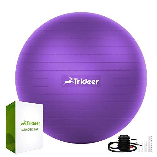 Trideer Extra dicker Yoga- und Gymnastikball, 5 Größen, Kugelstuhl, belastbar bis 1000 kg, für Balance, Stabilität, Schwangerschaft und Physiotherapie, schnelle Pumpe im Lieferumfang enthalten