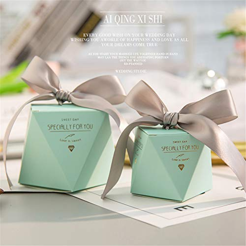 Present Box, with Lid & Ribbon Easy Assemble Boxes for Party Favor Crafting Cardboard Birthday Engagement Wedding Christmas
