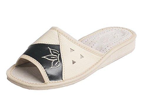 91 - Zapatillas de estar por casa para mujer, 100% piel, color Negro, talla 38 EU