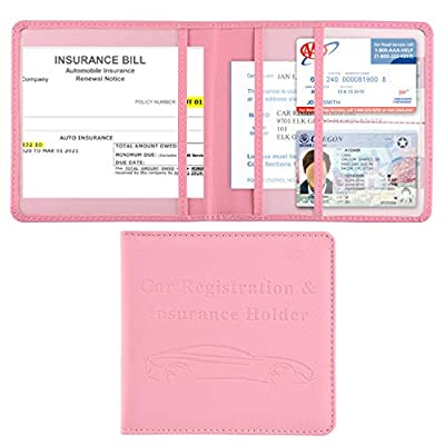 Car Registration and Insurance Holder, Vehicle Glove Box Car Organizer Men Women Wallet Accessories Case for Cards, Essential Document, Driver License by Cacturism, Pink from Cacturism