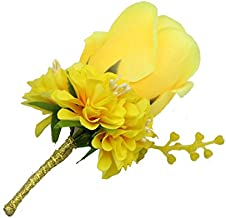 WeddingBobDIY Boutonniere Buttonholes Groom Groomsman Best Man Rose Wedding Flowers Accessories Prom Suit Decoration Yellow