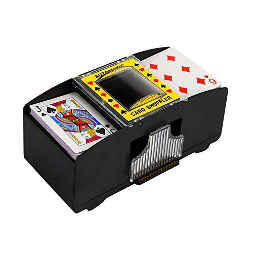 Soaoun Automatic Playing Card Shuffler, Electronic 2/4/6 Decks Playing Card Shuffler Automatic Battery Operated Machine with Push Button (2-Deck)