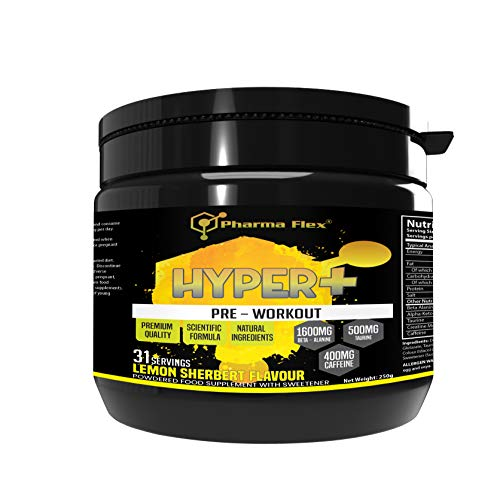 Hyper+ High Strength Pre-Workout Supplement (Lemon Sherbert Flavour) with Creatine Monohydrate, Beta Alanine, Taurine, Caffeine, Alpha-Keto-Glutarate for Increases Energy and Power Performance