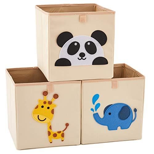 EZOWare 3 pcs Caja de Almacenaje, Caja Cubos Decorativos de Tela Alta para Almacenaje en Cuartos de Niños, Juguetes, Hogar y Oficinas - (26.7 x 26.7 x 28cm, Animales Surtidos)