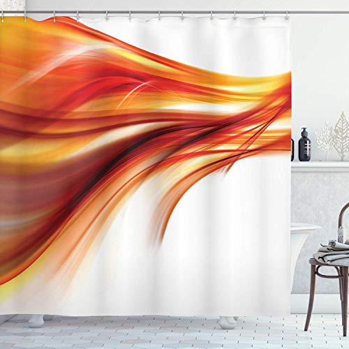 QDAS Abstract douchegordijn, 60 x 72 inch, modern, abstract, gladde lijnen, blouse, kunst, schuiver, spaken bedrukt, stof, badkamerdecoratie, set met donker haken.