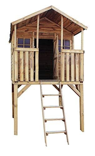 AVANTI TRENDSTORE - Beta - Casetta da giardino per bambini con scaletta, in legno trattato, incl. cartone catramato per tetto, dimensioni LAP 152x275x181cm
