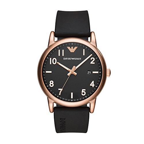 Price comparison product image Emporio Armani Men's Sport Stainless Steel Quartz Watch with Rubber Strap,  Black,  20 (Model: AR11097)