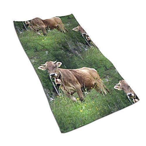 WH-CLA Bath Towels Real Swiss Cow Brown Toalla De Baño Toallas De Baño Premium Toalla De Playa Acogedora Unisex De Secado Rápido Reutilizable 80X130 Cm Toalla De Piscina De Moda Duradera
