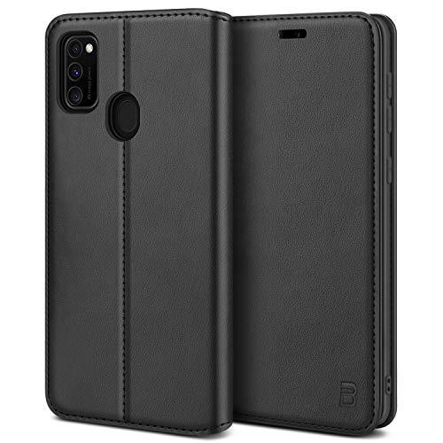 BEZ Handyhülle für Samsung M21 Hülle, Premium Tasche Kompatibel für Samsung Galaxy M21/ M30s, Tasche Hülle Schutzhüllen aus Klappetui mit Kreditkartenhaltern, Ständer, Magnetverschluss, Schwarz