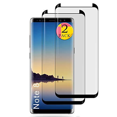 aiMaKE Galaxy Note 8 Panzerglas Schutzfolie, Anti-Kratzen,Blasenfrei,2-Stück 3D Coverage Für Samsung Galaxy Note 8 Bildschirmschutz Folie
