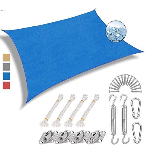 NOLOGO Rectangular Vela de Sombra 4x7.5m Antracita protección UV Toldo Vela Cuadrado Exteriores Accesorios de MontajeTodo Incluído para Jardín Patio Terraza Balcón, Azul