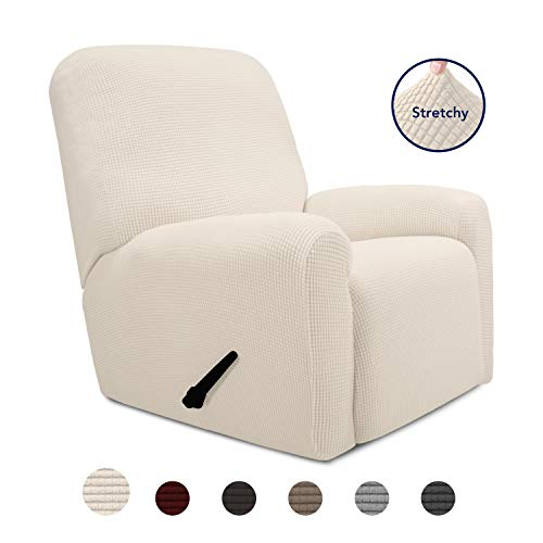 PureFit 4 Pieces Recliner Stretch Slipcover with Pocket Couch – Spandex Jacquard Soft Fitted Sofa Couch Cover, Washable Furniture Protector with Non Skid Elastic Bottom for Kids (Recliner, Ivory)