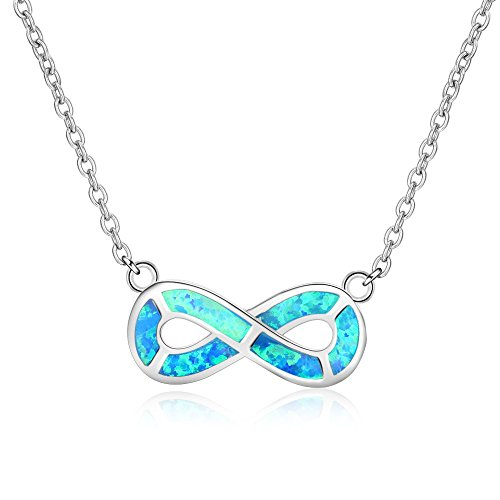 Ldwxxx Pendants & Coins 925 Sterling Silver Blue Eight-character Pendant Necklace Wild 10 * 20mm