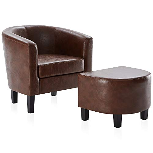 BELLEZE Accent Club Chair w/Ottoman Modern Stylish Round Arms Curved Back French Print Faux Leather, Caramel