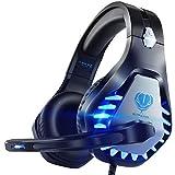 Pacrate PS4 PS5 ゲーミングヘッドセット ノイズキャンセリング ヘッドホン敏感なマイク付き LEDマイク サラウンドサウンド高音質 重低音強化 伸縮可能 軽量 有線 クリスタル ステレオ サウンド コンピューターとラップトップとMac用 青