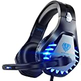 Pacrate Cascos Gaming para PS4 PS5 Xbox One PC Laptop Switch, Auriculares Gaming Estéreo Sonido, Cascos con Microfono con Luz LED, Cascos Gamer Jack de 3,5 mm con Cancelación de Ruido