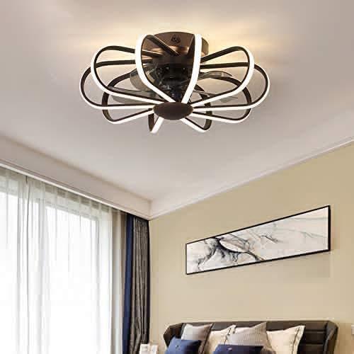 LED Deckenventilator Mit Beleuchtung Und Fernbedienung Dimmbare Windgeschwindigkeit Verstellbare Leise Ventilator Kronleuchter Kinderzimmer Industrial Fan Deckenleuchte Dekoration 112W