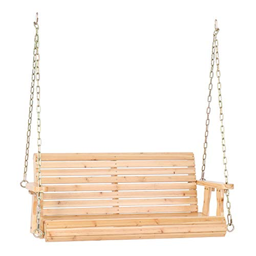 VINGLI Upgraded Patio Wooden Porch Swing for Courtyard & Garden, Heavy Duty 880 LBS Swing Chair Bench with Hanging Chains for Outdoors (4 FT, Natural)