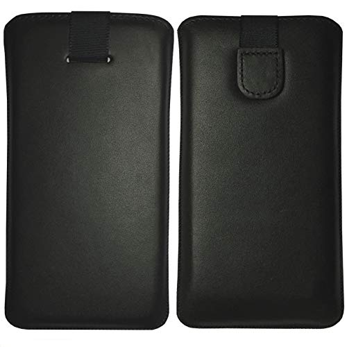 MOELECTRONIX ECHT Leder Hülle passend für Motorola One Zoom | Schutz Tasche Slim Lederhülle mit Klettverschluss | 1A SCHWARZ