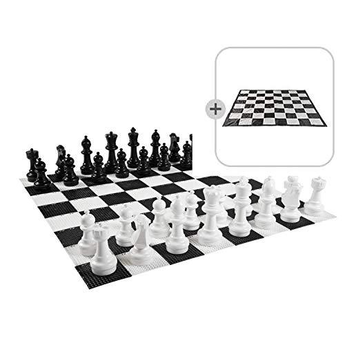 Ubergames Giga - Juego de ajedrez (tamaño XXL, hasta 30 cm, resistente al agua y a los rayos UVA, figuras de ajedrez + esterilla)