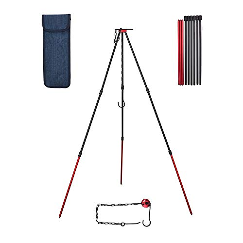 Camping Tripod Portable Outdoor Survival Cooking Tripod with Adjustable Chain Mini Camping Equipment Campfire Grill Stand Grilling Set with Storage Bag