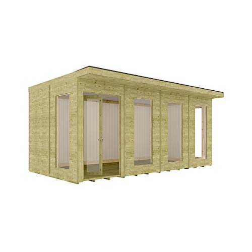 16 x 10 Garden Room Home Office Pressure Treated Pent Roof Clubhouse Bi-Fold Doors with Opening Windows 4.87m x 3m