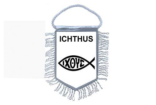Akachafactory Wimpel Mini Flagge Fahne flaggen miniflagge Fisch ichthys Kirche Symbol
