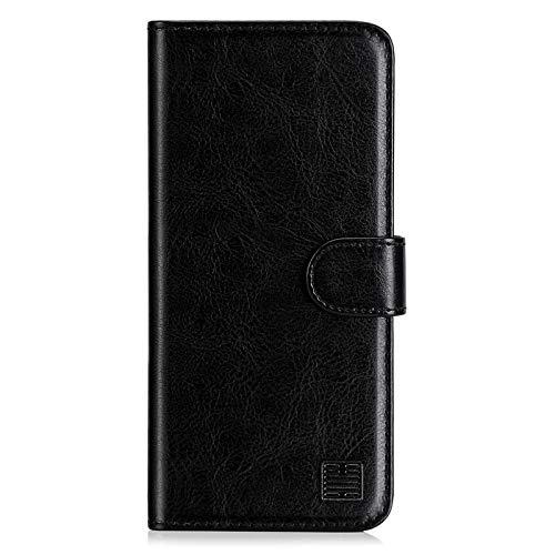 32nd Funda Flip Carcasa de Piel Tipo Billetera para Xiaomi Mi 10 Lite con Tapa y Cierre Magnético y Tarjetero - Negro